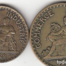 Monedas locales: 2 FICHAS: CAMARA COMERCIO FRANCIA - BON POUR 1 FRANC 1922 + 2 FRANCS 1921. Lote 135191862