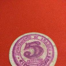 Monedas locales: ABARÁN MURCIA GUERRA CIVIL 5 CENTIMOS DISCO CARTÓN. Lote 135277542