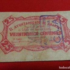 Monedas locales: ABARÁN MURCIA GUERRA CIVIL 25 CENTIMOS 1937. Lote 135277786