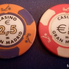 Monedas locales: 2 FICHAS DE CASINO GRAN MADRID. Lote 135449722