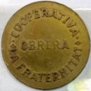 Monedas locales: FICHA DE LA COOPERATIVA OBRERA LA FRATERNITAT (SAN VICENÇ DE TORELLÒ) - 5 CTS - AL3014. Lote 135675263
