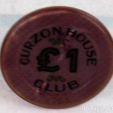 Monedas locales: FICHA DE CASINO, CASINO DEL CURZON HOUSE CLUB, 1 LIBRA. Lote 137111502