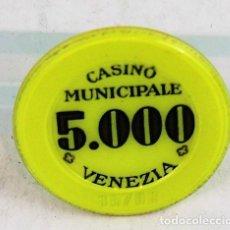 Monedas locales: FICHA DE CASINO, CASINO MUNICIPALE DE VENEZIA, 5000 LIRAS. Lote 280121718