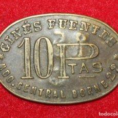 Monedas locales: MONEDA FICHA 10 PESETAS, MERCADO CENTRAL BORNE 22, GINÉS FUENTES. MARCA EN REVERSO 15. 3,4X2,2CM.. Lote 138937554