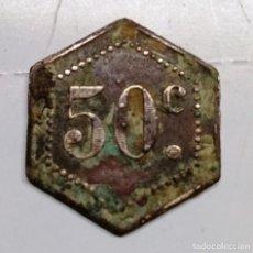 Monedas locales: MONEDA FICHA DE 50 CENTIMOS EXAGONAL.MUY RARA . Lote 139319378