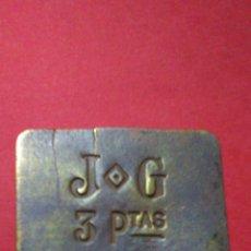 Monedas locales: ANTIGUA Y RARA FICHA/JETÓN/TOKEN. DE 3 PTAS. JG. 3,7 X 2,8 CM.. Lote 139354397
