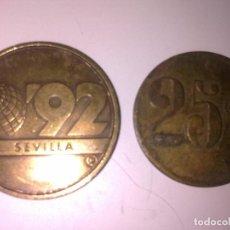 Monedas locales: 2 FICHAS -TOKEN EXPO 92 Y 25 CTS. Lote 140299554