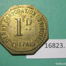 Monedas locales: FICHA, TRAYECTO EN OMNIBUS INGLATERRA 1890-1920, UN PENIQUE, TOKEN, JETÓN. Lote 143103122