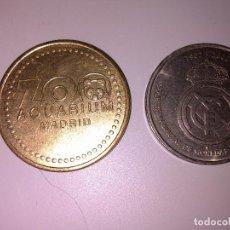 Monedas locales: FICHA ZOO AQUARIUM MADRID Y REAL MADRID. Lote 143914598