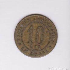 Monedas locales: SOCIEDAD COOPERATIVA LA MORAL - BADALONA - 10 CENTIMOS - L-770 (MBC). Lote 145629602