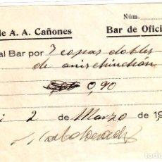 Monedas locales: VALE DEL GRUPO DE A.A. CAÑONES BAR DE OFICIALES POR 3 COPAS DOBLES DE ANIS CHINCHÓN 1936. Lote 146212050
