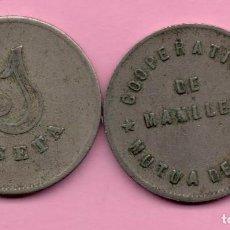 Monedas locales: COOPERATIVA - MANLLEU 1 PESETA - MUTUA DE PAN. Lote 215551951