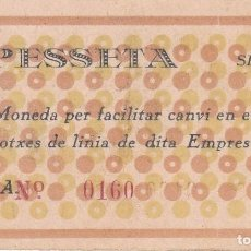 Monedas locales: BILLETE DE 1 PESETA DE AUTOS POUS DE MANLLEU DEL AÑO 1937 (GUERRA CIVIL). Lote 146314494
