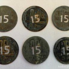 Monedas locales: LOTE DE 6 FICHAS DINERARIAS ANTIGUAS DEL MERCADO CENTRAL DEL BORNE BARCELONA 5 PESETAS PERFORADAS. Lote 146531742