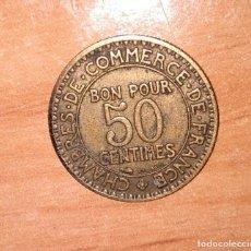Monedas locales: BONO DE LAS CÁMARAS DE COMERCIO DE FRANCIA 1922 FRANCESA DE 50 CMS. Lote 148000642