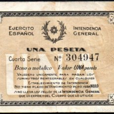 Monedas locales - EJERCITO ESPAÑOL - INTENDENCIA GENERAL 1 PESETA - GUERRA CIVIL - 151127766