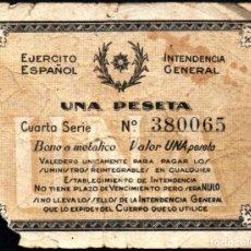 Monedas locales - EJERCITO ESPAÑOL - INTENDENCIA GENERAL 1 PESETA - GUERRA CIVIL - 151128962