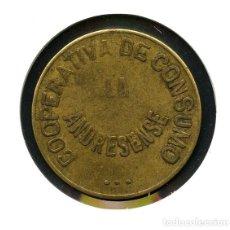 Monedas locales: FICHA, COOPERATIVA DE CONSUMO ANDRESENSE, 1929, BARCELONA, VALOR: 10 CTS.. Lote 151462146