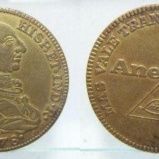 Monedas locales: MEDALLA PUBLICITARIA ANEUROL (LACER) MÁS VALE TRANQUILIDAD QUÉ ORO CARLOS III 1778 23GR-37MM. Lote 151587530