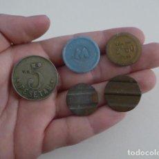 Monedas locales: LOTE 5 ANTIGUA FICHA O MONEDA, VARIEDAD. ORIGINALES.. Lote 151935606
