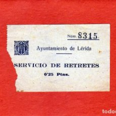 Monedas locales: AYUNTAMIENTO DE LÉRIDA CURIOSO VALE PARA SERVICIO DE RETRETES 0,25 CTS. MUY ANTIGUO. Lote 152668778