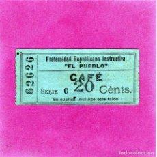 Monedas locales: BONITO VALE PARA TOMAR CAFE EN LA FRATERNIDAD REPUBLICANA INSTRUCTIVA EL PUEBLO 20CTS CAPICUA AÑOS20. Lote 152758078