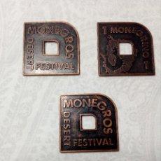 Monedas locales: 3 FICHAS MONEDAS (MONEGROS DESERT FESTIVAL) MONEGRINOS. Lote 152807106