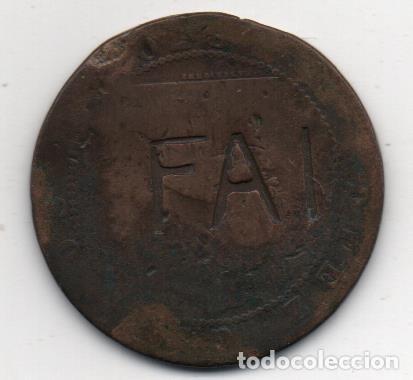 F. A . I. MONEDA MONARQUICA CON RESELLO ANARQUISTA, VER FOTOS (Numismática - España Modernas y Contemporáneas - Locales y Fichas Dinerarias y Comerciales)