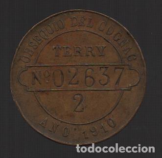 PUERTO SANTA MARIA, OBSEQUIO DE COGÑAC TERRY. NUMERADA, AÑO 1910, VER FOTOS (Numismática - España Modernas y Contemporáneas - Locales y Fichas Dinerarias y Comerciales)