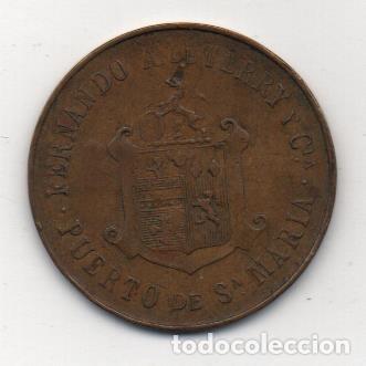 Monedas locales: PUERTO SANTA MARIA, OBSEQUIO DE COGÑAC TERRY. NUMERADA, AÑO 1910, VER FOTOS - Foto 2 - 155445234