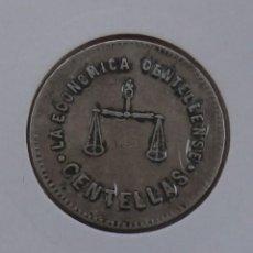 Monedas locales: FICHA DE 1 PESETA COOPERATIVA LA ECONÓMICA CENTELLENSE ( CENTELLES ). Lote 158197962