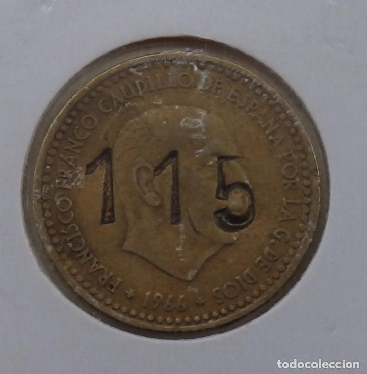 FICHA, 1 PESETA DE 1966 RESELLADA CON EL NUMERO 115 (Numismática - España Modernas y Contemporáneas - Locales y Fichas Dinerarias y Comerciales)