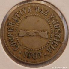 Monedas locales: COOPERATIVA PAZ Y JUSTICIA S.MARTIN DE PROVENSALS 1907, 1 PESETA. Lote 158279466