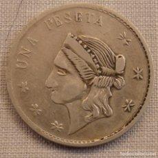 Monedas locales: MUY BONITA FICHA DE CASINO MODERNISTA, 1 PESETA. Lote 158282646