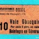 Monedas locales: CURIOSO VALE DE SELECCIONES ORIOL Pº MARAGALL 178 POR CADA 5PTAS.VALE REINTEGRO EN GÉNERO . Lote 160303734