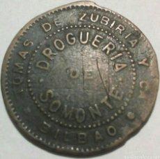 Monedas locales: FICHA DE LA DROGUERÍA DE SOMONTE (BILBAO), ZUBIRIA Y CA. Lote 160434672