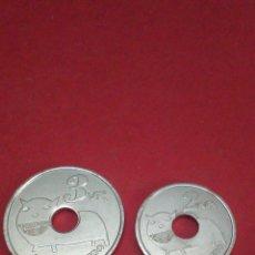 Monedas locales: LOTE DE 2 FICHAS/TOKEN. FESTIVAL VIÑA ROCK. VILLARROBLEDO. 2009.. Lote 160468902