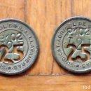 Monedas locales: LOTE DE 2 FICHAS MONEDA DEL SINDICATO AGRÍCOLA DE LLAVANERES DE 25 P-102 T-2-B. EN BUEN ESTADO.. Lote 160731502