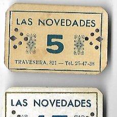 Monedas locales: COLECCION COMPLETA VALES **LAS NOVEDADES - BARCELONA ** VALORES 5 - 15 - 100. Lote 165341270