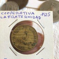 Monedas locales: FICHA 5 CÉNTIMOS COOPERATIVA LA FRATERNIDAD. Lote 161159897