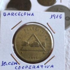 Monedas locales: FICHA COOPERATIVA LA FRATERNIDAD 10 CÉNTIMOS. Lote 161160612
