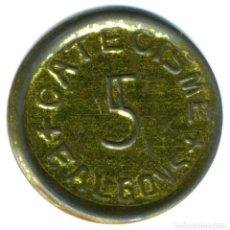 Monedas locales: XS- FALGONS (PLA DE L'ESTANY) FITXA DEL CATECISME VALOR 5 ANYS 70 MOLT RARA. Lote 161294598