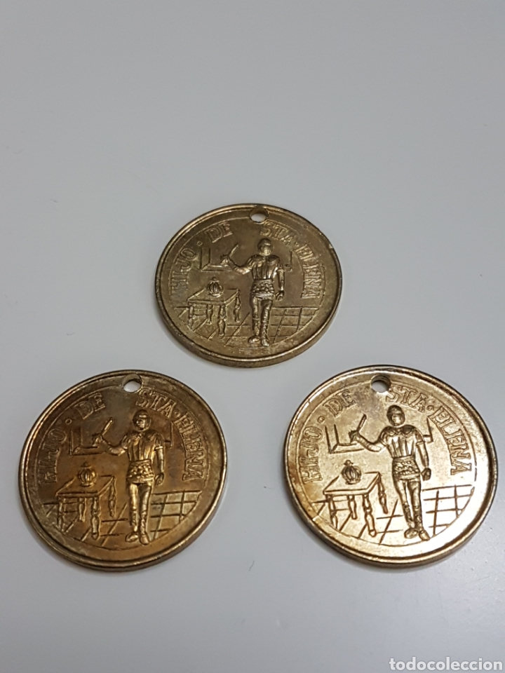 3 FICHAS MEDALLA O MONEDA DE HIJO DE LA SOCIEDAD SANTA ELENA (Numismática - España Modernas y Contemporáneas - Locales y Fichas Dinerarias y Comerciales)