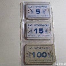 Monedas locales: COLECCION COMPLETA VALES ** LAS NOVEDADES - BARCELONA ** VALORES: 5 - 15 - 100. Lote 171995114
