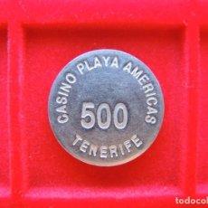 Monedas locales: FICHA - TOKEN / PARTE CENTRAL FICHA CASINO / 'CASINO PLAYA AMÉRICAS', TENERIFE, VALOR 500. Lote 162354314