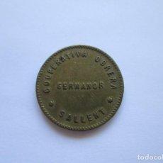 Monedas locales: FICHA * 1 PESETA * COOPERATIVA OBRERA GERMANOR * SALLENT . Lote 164873502