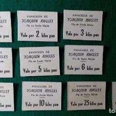 Monedas locales: COLECCION 10 VALES DE NECESIDAD PAN - PANADERIA DE JOAQUIN ANGLES - PLA DE SANTA MARIA ( TARRAGONA ). Lote 166732178