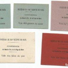 Monedas locales: INTERESANTE LOTE DE CINCO VALES DE LA SOC. DE SAN VICENTE DE PAUL (NUESTRA SEÑORA DE VEGA DE HARO). Lote 168299940