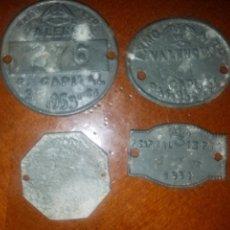 Monedas locales: 4 CHAPAS EXCELENTÍSIMO AYUNTAMIENTO VALENCIA AÑOS 50. Lote 168566046