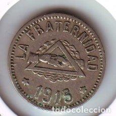 Monedas locales: FICHA COOPERATIVA LA FRATERNIDAD 1 PESETA LA BARCELONETA 1915. Lote 168889040